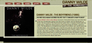 "Danny Wilde website for album ""The Boyfriend"" (1986)"