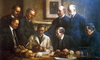 John Cooke's 1915 painting of the Piltdown men. Photograph: Nils Jorgensen/Rex Features